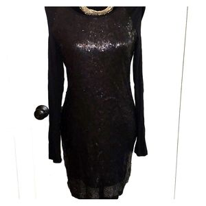 Cold shoulder black sequins dress